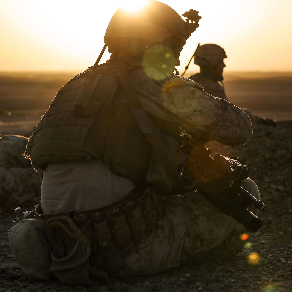 Gunnery Sergeant Douglas Dire taking in an Iraqi sunrise.